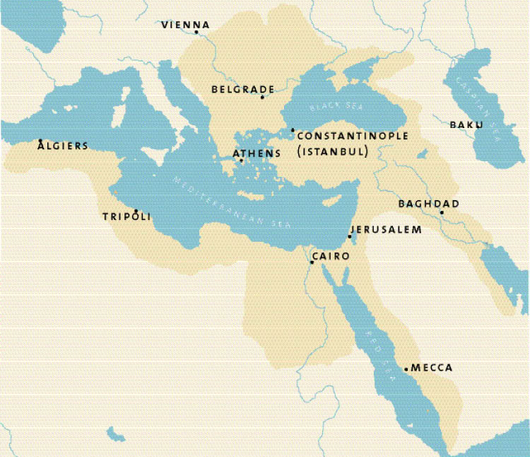 The maximum extent of the Ottoman Empire, ca. 1566