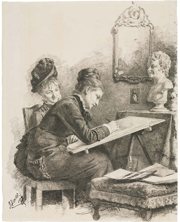 Two Women Sketching a Sculpture
