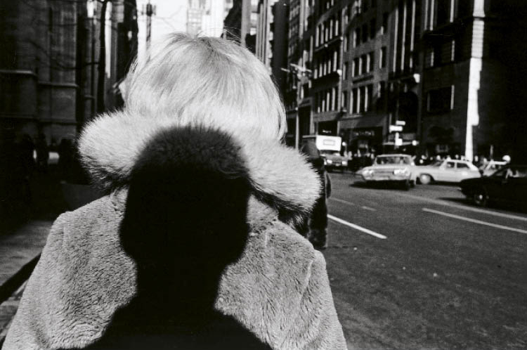 At a time when the prevailing style was for the photographer's presence to be invisible, Friedlander began to insert himself, often with irony and playfulness, into the composition via cast shadows or reflections (New York City, 1966; gelatin silver print