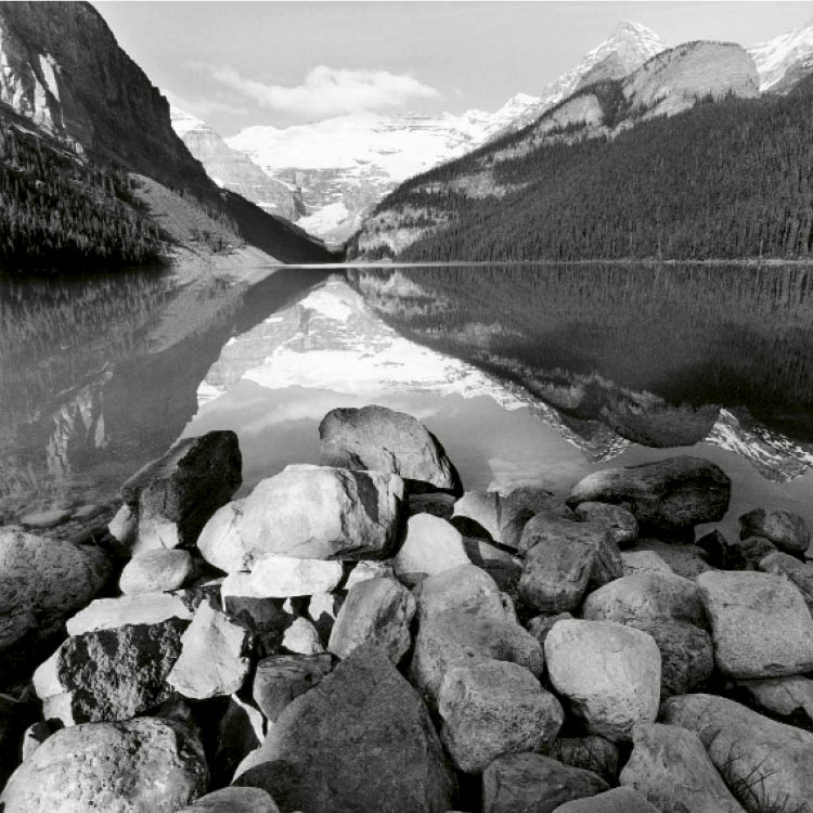 Friedlander's switch to the Hasselblad Superwide, with its amazing capacity for depth of field, enabled him to create expansive, detailed vistas of the western landscape, stunning examples of light and perspective, fact and pictorial invention (Lake Louis