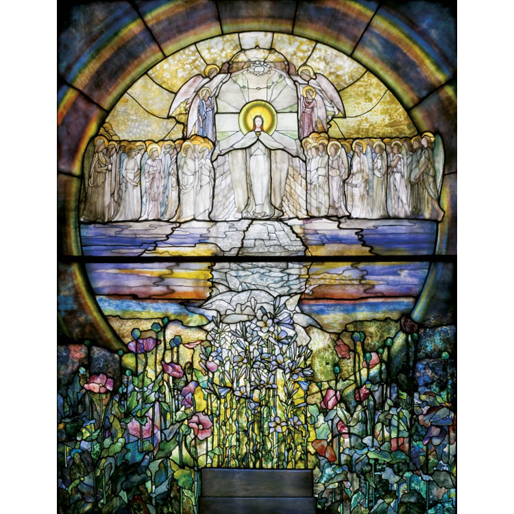Wall mosaics and a Favrile glass window by Louis Comfort Tiffany