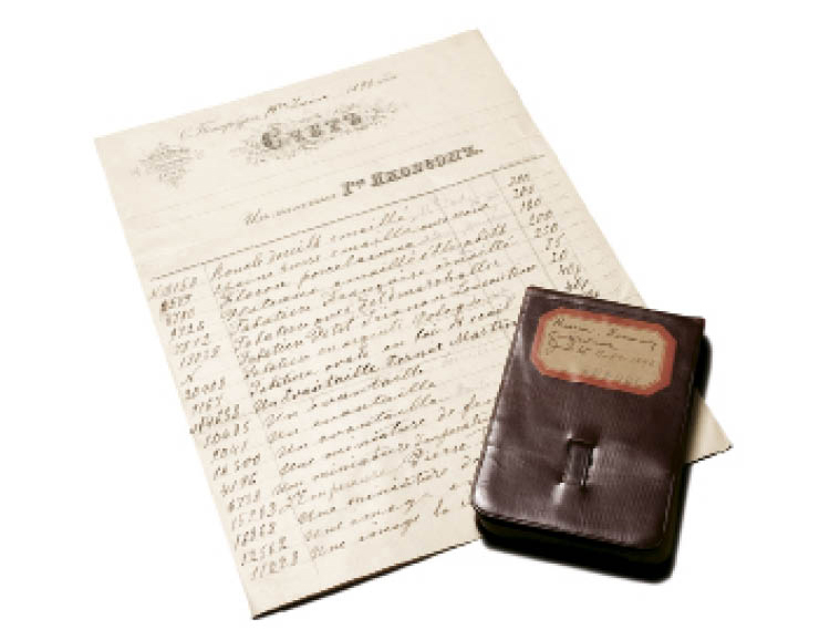 A receipt in the family's papers provides a snapshot of some of their Russian purchases, including enameled jewelry, portrait miniatures, snuffboxes, fans, and lace. Wade's pocket-size journal contains his impressions of Russia, Germany, and Switzerland.