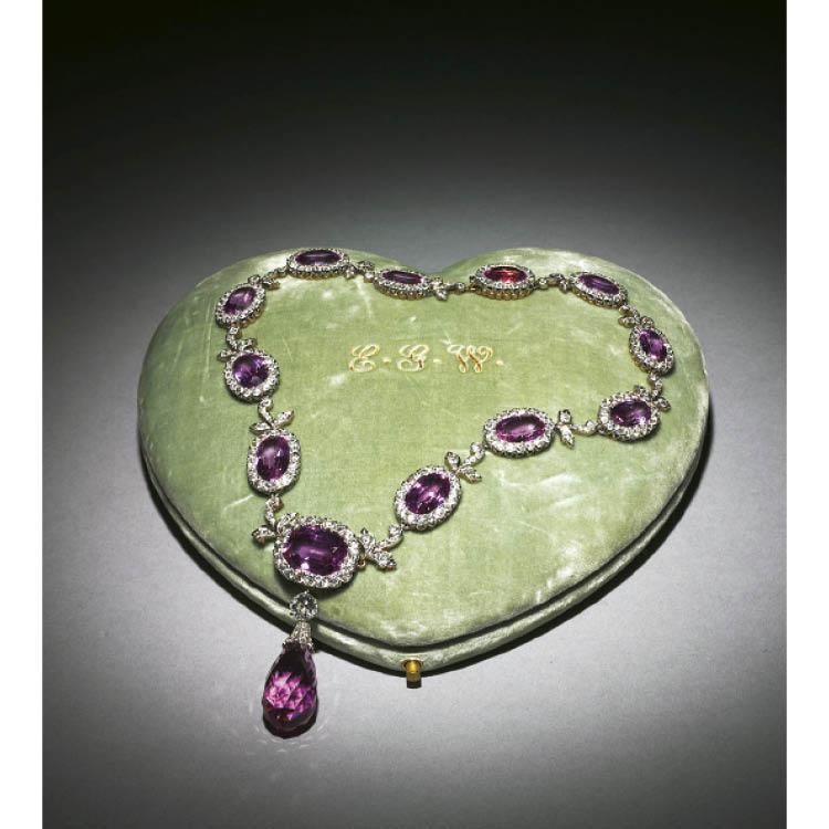 Ellen Garretson Wade's magnificent necklace of diamonds and dark pink tourmalines.