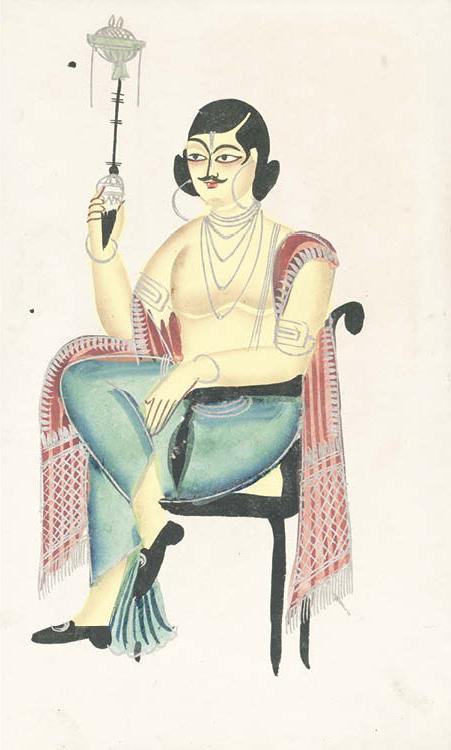 English Babu (Native Indian Clerk) Holding a Hookah