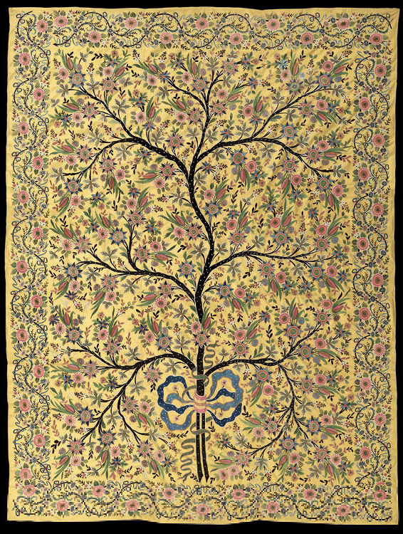 Silk Hanging with Embroidered Tree of Life