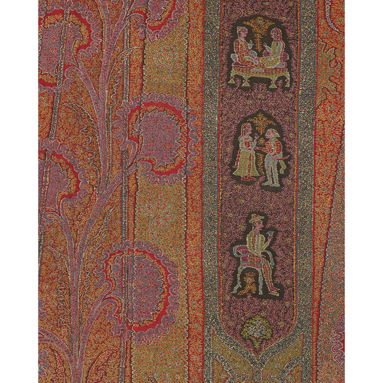 Long Shawl with Woven Figures and Animals