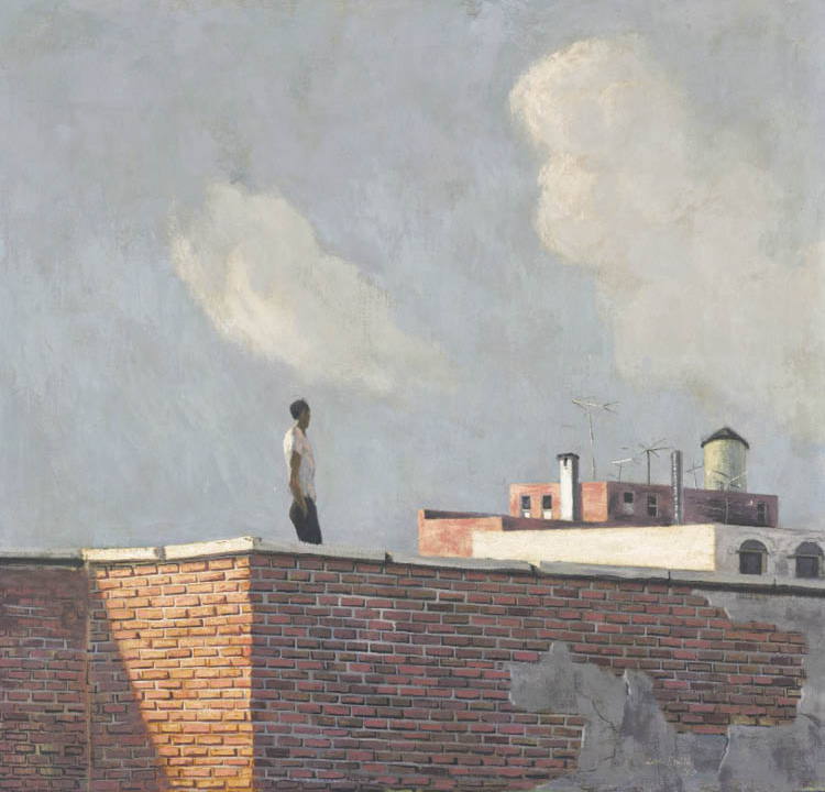 Hughie Lee-Smith (American, 1915–1999). Untitled (Rooftop View), 1957. Oil on masonite. Purchase from the 