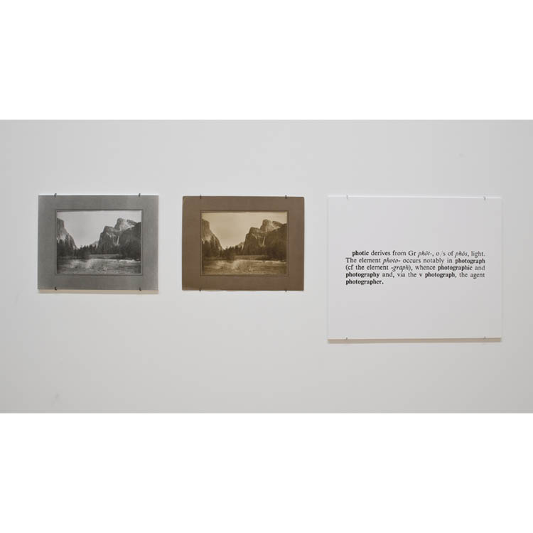 """Joseph Kosuth (American, b. 1945). One and Three Photographs [Ety.], 1965. Vintage photograph, photograph of a photograph, photographic enlargement of the definition of the word """"photograph,"""" original photo-certificate; 78.1 x 274.3 cm. Purchase from the"""