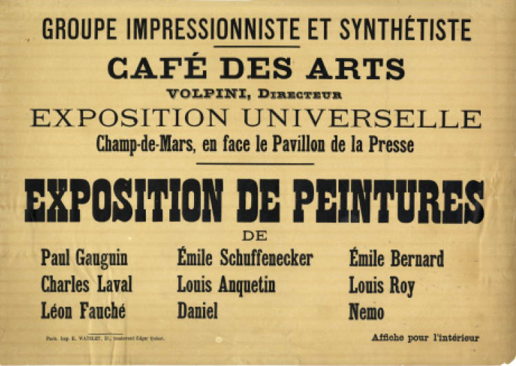 Poster for the Exhibition at the Café des Arts, 1889. Lithograph; 28 x 39.7 cm. Pennsylvania State University Libraries, Rare Books and Manuscripts Special Collections BRH-13. Image courtesy of Rare Books and Manuscripts, Special Collections Library, Penn