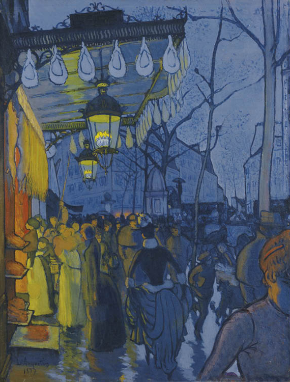 Louis Anquetin (French, 1861–1932). Avenue de Clichy, 1887. Oil on canvas; 69 x 53 cm. Wadsworth Atheneum Museum of Art, Hartford, The Ella Gallup Sumner and Mary Catlin 