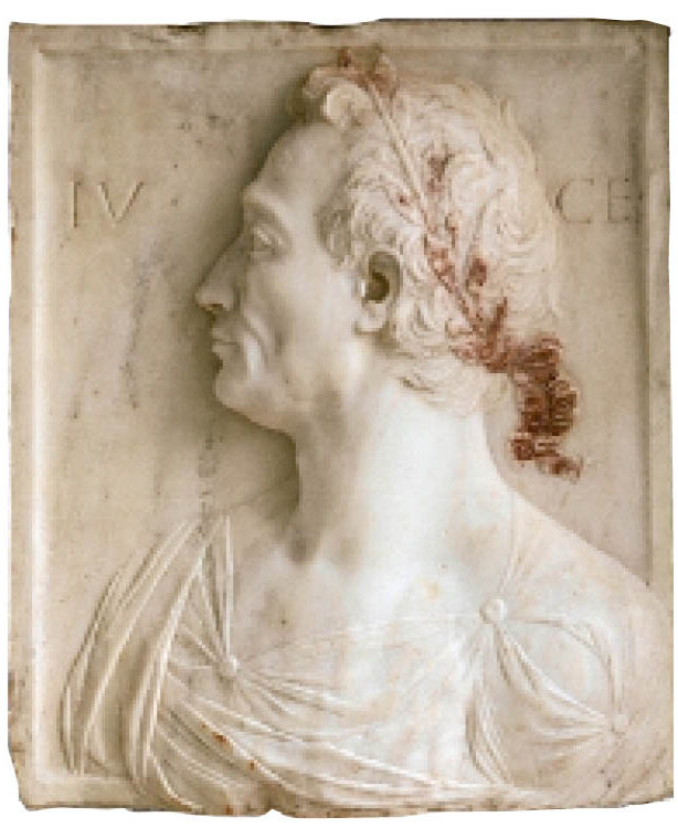 Mino da Fiesole (Italian, c. 1429–1484). Julius Caesar, c. 1455–60. Marble with traces of bole and gilding, mounted with mortar into limestone with traces of polychromy