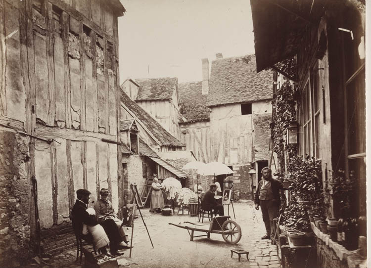 Unidentified photographer (French, 19th century). Courtyard with Painters, late 1860s. Albumen print from wet collodion negative, 28.4 x 38.6 cm. John L. Severance Fund 1998.176