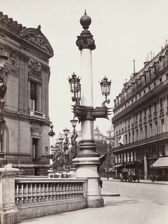 Charles Marville (French, 1816–1879). Opéra (Rostral Column), c. 1875. Albumen print from wet collodion negative, 37.7 x 26.7 cm. Purchase from the Karl B. Goldfield Trust 2006.6