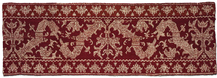 Decorative Band possibly 1700s or 1800s. Morocco, Azemmour, Moroccan embroiderer. Linen, silk, and dye; average: 79.4 x 28 cm. Gift of Mr. and Mrs. J. H. Wade, 1916.1244