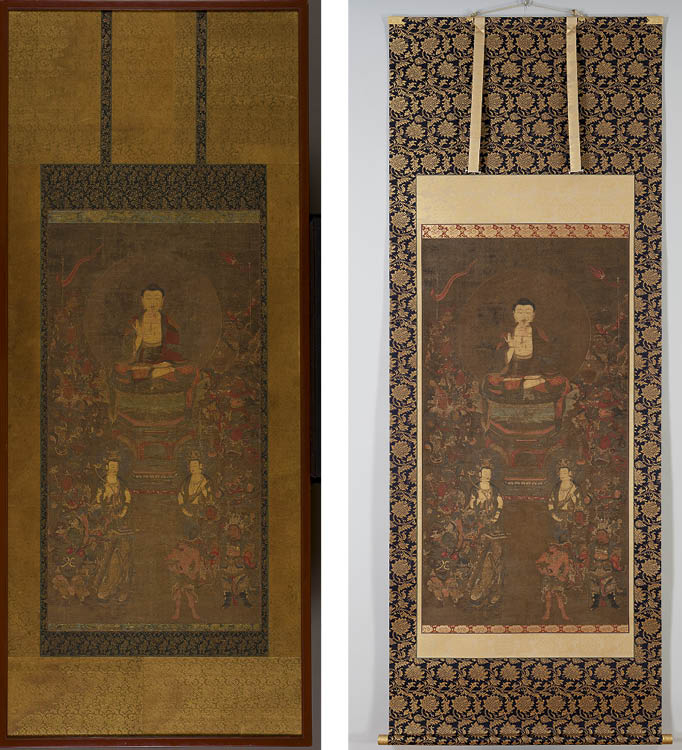 BEFORE (LEFT) and AFTER CONSERVATION Shakyamuni with the Sixteen Benevolent Deities (釈迦三尊十六善神像) mid to late 1300s. Japan, Nanbokucho period (1336–1392). Hanging scroll; ink, color, gold, and cut gold on silk; painting: 106.5 x 56.6 cm. Gift of Mrs. Henry