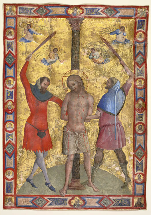 Miniature from a Mariegola: The Flagellation  c. 1350–75. Workshop of Lorenzo Veneziano (Italian). Tempera and gold on parchment; 29.5 x 21 cm. Purchase from the J. H. Wade Fund, 1950.374