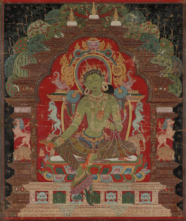 Green Tara c. 1260s. Central Tibet. Thangka: gum tempera and gold on sized cotton; 52.4 x 43.2 cm. Purchase from the J. H. Wade Fund by exchange, 1970.156