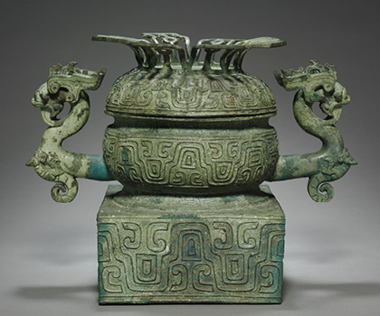 Food Container (Gui), 600–500 BC. China, Eastern Zhou dynasty (770–256 BC), Spring and Autum period (770–476 BC). Bronze; 34.3 x 44.5 cm. The Cleveland Museum of Art, Leonard C. Hanna Jr. Fund, 1974.73