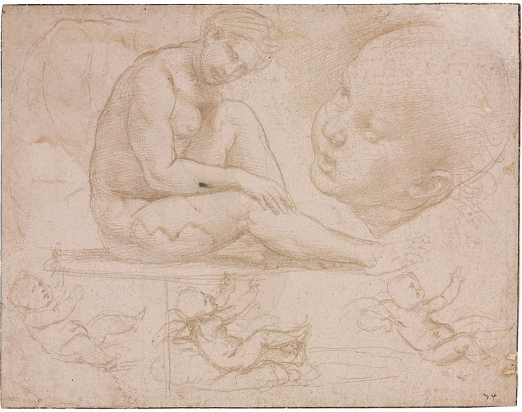 Two Female Heads 1600–1650. Abraham Bloemaert (Dutch, 1564–1651). Red chalk heightened with white chalk; framing lines in brown ink; 7.8 x 12.2 cm. Anne Elizabeth Wilson Memorial Fund, 1994.15  Studies of a Seated Female, Child's Head, and Three Studies o