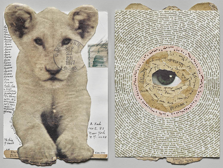 The King of Beasts (recto and verso), 1977. Lenore Tawney (American, 1907–2007). Collage and pen and ink; 16 x 10 cm. Gift of Katharine Kuh, 1981.186.  © Lenore G. Tawney  Foundation