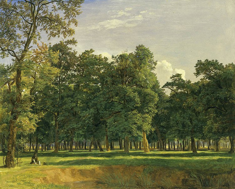 Prater Landscape c. 1831. Ferdinand Georg Waldmüller (Austrian, 1793–1865). Oil on wood panel; 25 x 31 cm. Andrew R. and Martha Holden Jennings Fund, 1983.155