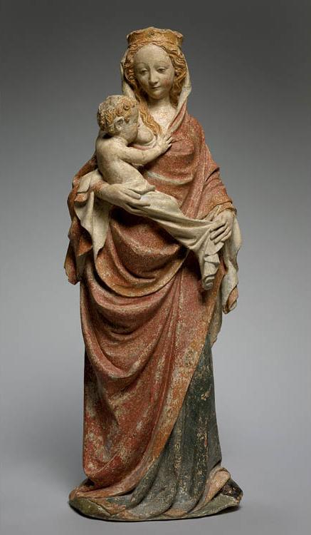Virgin Nursing the Christ Child (Maria lactans)  c. 1380. France, Île de France. Painted limestone; 111 x 38.5 cm. Leonard C. Hanna Jr. Fund, 1984.157
