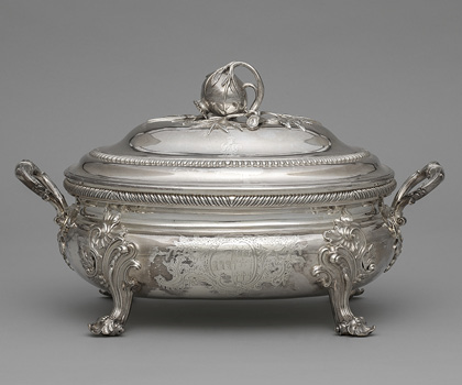 Covered Tureen, 1753. Edward Wakelin (British, active 1730–66). Silver; 24.3 x 40.4 x 22.8 cm. The Cleveland Museum of Art, Bequest of Mrs. Severance A. Millikin, 1989.214.a–b