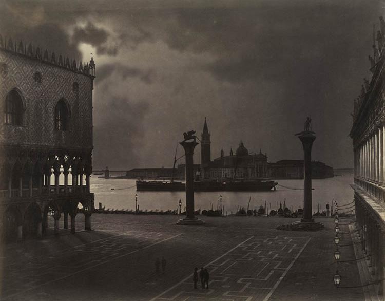 Venice: Saint Mark's Looking toward San Giorgio Maggiore, in Moonlight c. 1870. Carlo Naya (Italian, 1816–1882). Albumen print; 42.3 x 53.7 cm. Dudley P. Allen Fund, 2009.350