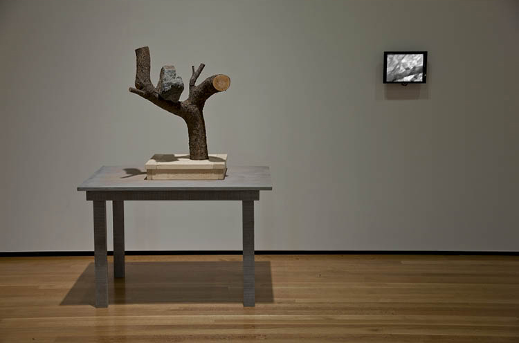 A Rock That Was Taught It Was a Bird 2010. Kim Beom 김범 (Korean, b. 1963). Stone, wood, wooden table, single-channel video on 12-inch flat monitor (1 hr, 27 min, 30 sec; edition 1/3); overall: 146.8 x 220.5 x 127.7 cm. Louis D. Kacalieff M.D. Fund, 2010.26