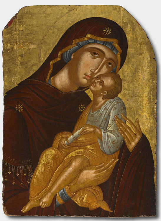 Icon of the Mother of God and Infant Christ (Virgin Eleousa) (detail), c. 1425–50. Attributed to Angelos Akotantos (Greek, c. 1450). Crete. Tempera and gold on wood panel; 96 x 70 cm. Leonard C. Hanna Jr. Fund, 2010.154
