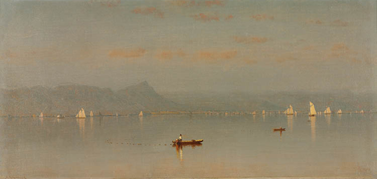 Haverstraw Bay 1868. Sanford R. Gifford (American, 1823–1880). Oil on canvas; 24.2 x 50.8 cm. Bequest of Dr. Paul J. Vignos Jr., 2011.43