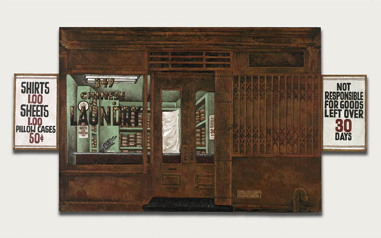 Chinese Hand Laundry 1984. Martin Wong (American, 1946–1999). Acrylic on canvas; 121.9 x 175.3 cm. Purchased with funds donated by Scott Mueller, 2014.3. Courtesy of the Estate of Martin Wong and P.P.O.W. Gallery, New York