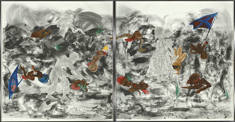 The Republic of New Afrika at a Crossroads 2016. Kara Walker (American, b. 1969). Raw pigment and watercolor medium, graphite, and (paper) collage on paper; overall:  287 x 532.1 x 8.3 cm. Purchase from the J. H. Wade Fund, 2016.54. © Kara Walker
