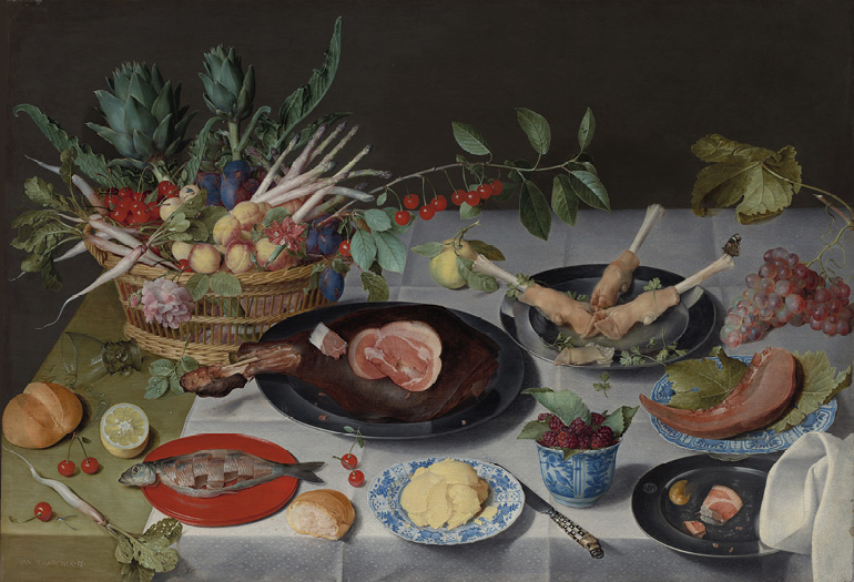 Still Life with Meat, Fish, Vegetables, and Fruit, c. 1615–20. Jacob van Hulsdonck (Flemish, 1582–1647). Oil on panel, the reverse prepared with gesso; 71.5 x 104 cm. The Cleveland Museum of Art, Gift of Janice Hammond and Edward Hemmelgarn, 2018