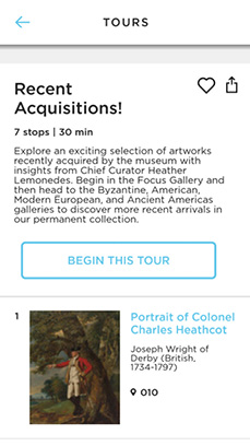 ArtLens App screenshot - Recent Acquisitions tour