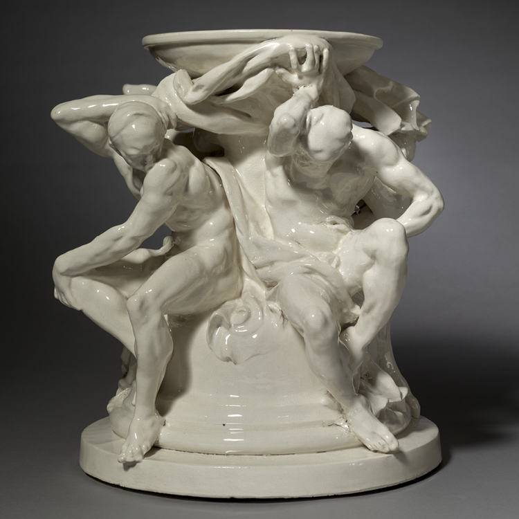 Titans, Support for a Vase c. 1877. Figures modeled by Auguste Rodin (French, 1840–1917), probably designed by Albert- Ernest Carrier-Belleuse (French, 1824–1887). France. Glazed earthenware; overall: 37.5 x 38.1 x 38.1 cm. Leonard C. Hanna Jr. Fund, 1995