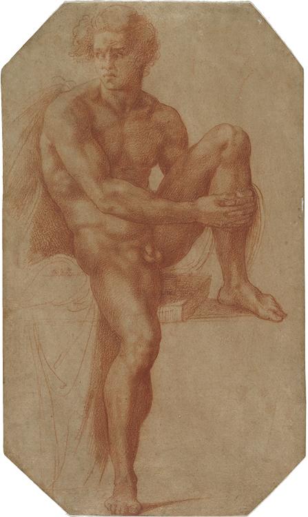 Seated Male Nude c. 1516–20. Baccio Bandinelli (Italian, 1493–1560). Red chalk over faint traces of black chalk; 40 x 23.7 cm. John L. Severance Fund, 1998.6