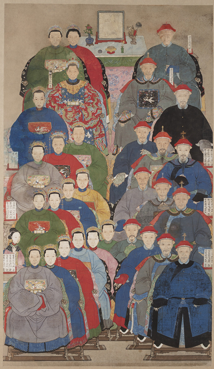 Ancestor Group Portrait 1796–1820. China, Qing dynasty (1644–1911), Jiaqing period (1796–1820). Hanging scroll; ink and color on paper; painting: 155.2 x 90.2 cm. Gift of Joyce G. Ames in honor of her husband, B. Charles Ames, 2019.82