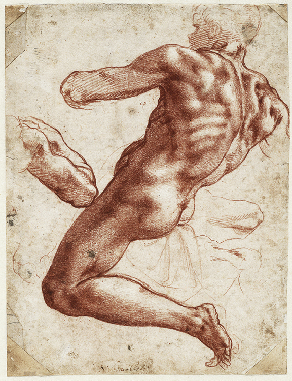 Seated male nude, separate study of his right arm for the Sistine Chapel ceiling, 1511. Red chalk, heightened with white; 27.9 x 21.4 cm
