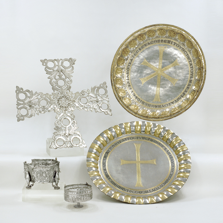 In the Gallery The  Christogram paten alongside other liturgical objects