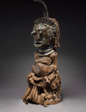 Male Figure, late 1800s–early 1900s. Democratic Republic of the Congo, Songye people. Wood, glass beads, brass, copper, iron, human teeth, antelope horn, hide, animal hair, minerals, plant fibers; h. 64 cm. René and Odette Delenne Collection, Leonard C. H
