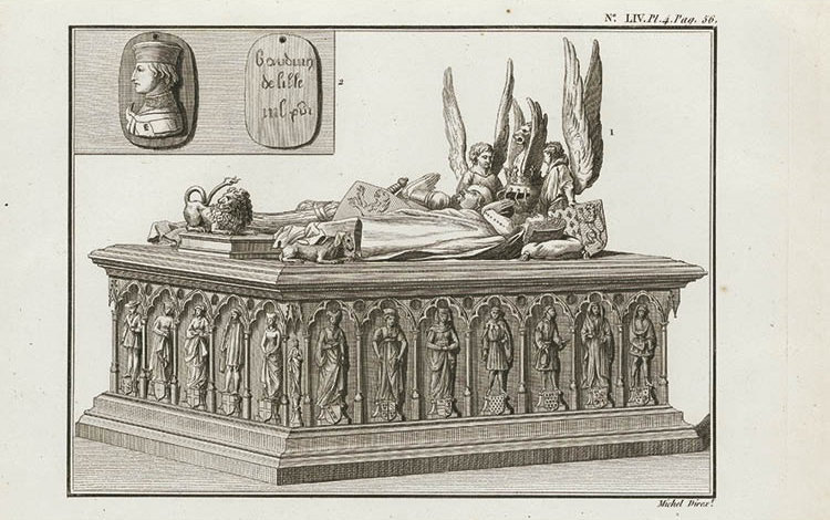 Tomb of Louis of Mâle, Margaret of Brabant and Their Daughter Margaret of Flanders in Lille Engraving from A.-L. Millin, Antiquités Nationales, vol. 5 (Paris, 1795)
