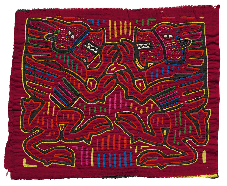 Rampant Lions Mola Panel c. 1950–70. Republic of Panamá, Gunayala  Comarca, Guna people, Gardi Coiba community. Cotton; reverse appliqué, appliqué, embroidery; 37.5 x 46 cm. The Cleveland Museum of Art, Gift of Dr. and Mrs. F. Louis Hoover, 1971.197