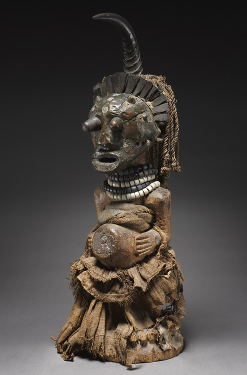 Male Figure late 1800s–early 1900s. Central Africa, Democratic Republic of the Congo, Songye people. Wood, glass beads, brass (including upholstery studs), copper alloy, iron alloy, raffia, reedbuck antelope horn, rawhide, animal hair, human teeth, organi