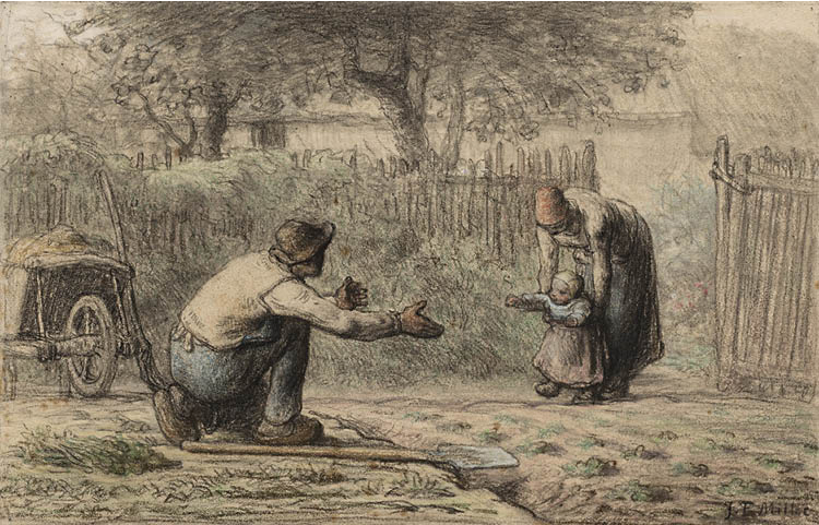 First Steps c. 1858–66. Jean-François Millet (French, 1814–1875). Black chalk and pastel; 29.5 x 45.9 cm. Gift of Mrs. Thomas H. Jones Sr., 1962.407
