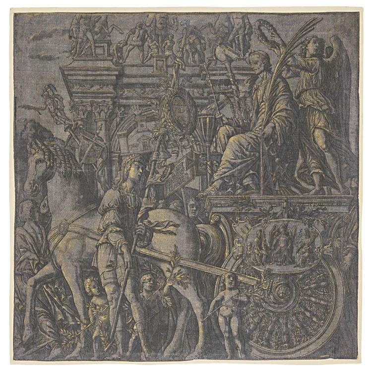 The Triumph of Caesar: Caesar Triumphant 1593–99. Andrea Andreani (Italian, c. 1558–1610), after Andrea Mantegna (Italian, 1431–1506). Woodcut printed on silk, heightened by hand with gold; sheet: 37.6 x 37.3 cm. John L. Severance Fund, 1994.102