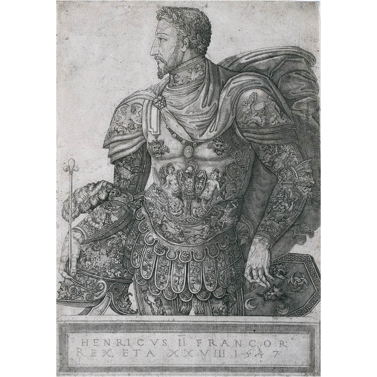 Henri II, King of France, at the Age of 28 1547. Nicolo della Casa (French, active 1543–48). Engraving; sheet: 41.3 x 29.3 cm. In memory of Ralph King, gift of Mrs. Ralph King; Ralph T. Woods, Charles G. King; and Frances King Schafer, 1946.308