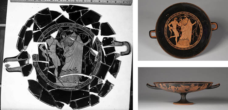 Red-Figure Kylix (Drinking Cup): Dionysos and Satyr (I); Satyrs and Maenads (A, B) c. 480 BC. Attributed to Douris (Greek, Attic, active c. 500–470 BC), or Painter of London E 55. Ceramic; diam. 29.6 cm. Hinman B. Hurlbut Collection, 1915.718. During trea