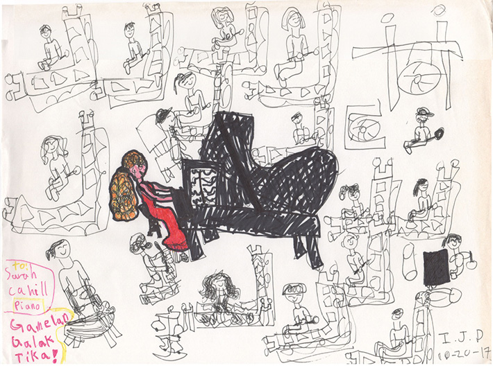 """Drawing made during the live performance of Lou Harrison's """"Concerto for Piano with Javanese Gamelan"""""""