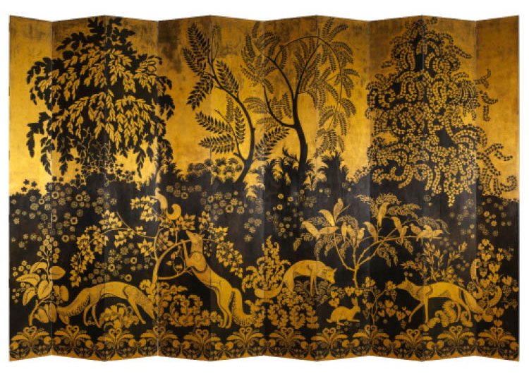 """Renards"" (Foxes): Ten-Panel Screen c. 1921–22. Armand-Albert Rateau (French, 1882–1938). Gilt and lacquered wood, patinated bronze; 330 x 50 cm. Musée des Arts décoratifs, Paris, 39952 A. Photo: Les Arts décoratifs, Paris / Jean Tholance, All Rights Rese"